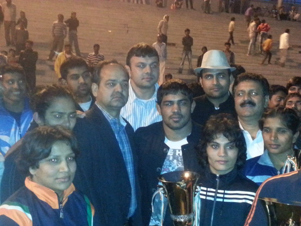 Sushil Kumar( silver medalist Wrestling  2012 London Olympics ) with winners in a Wrestling event