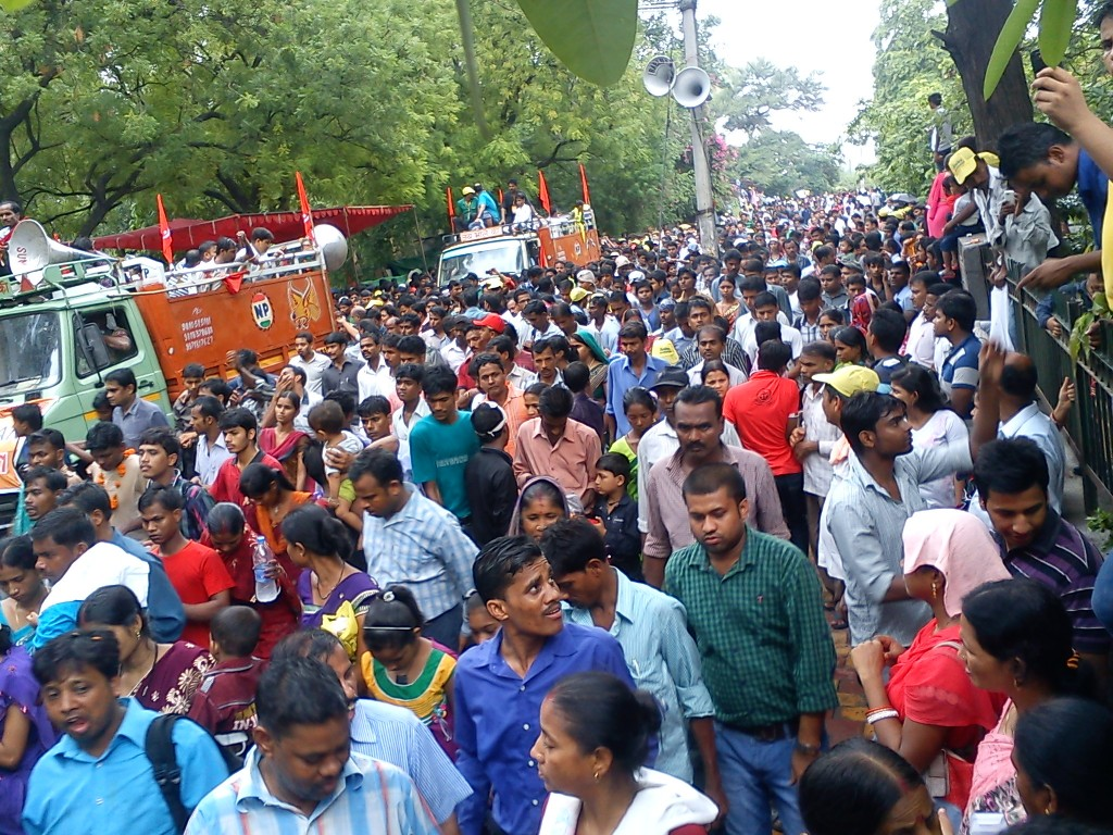 crowd gathered for religious celebration