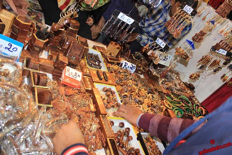 Delhi Handicrafts being sold in market.
